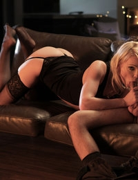 Blonde beauty Zoey Paige seduces her man with a long hot blow job and then sinks down on his cock for a long pussy ride