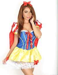 Sexy Alluring Vixen Lilly dresses up in a skimpy Snow White costume for Halloween