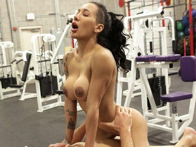 Enhanced busty athlete Amia Miley is quick to snap selfies of herself in the gym as she works out. Her yoga pants cling to her big ass, while her top can barely constrain her huge boobs. Once she's done working out, Amia sends Ryan Driller, her favorite booty call, a text to join her for a good time.Amia can't wait to get down on her knees and wrap her puffy lips around Ryan's stiffie when he arrives. Licking her way down Ryan's dick until she is deep throating the length of his hardon, Amia enjoys the musky intimacy. Then she leans back and starts stripping so Ryan can feel the heat of her snatch and sample her clit. Moving her own fingers down her body to glide them into her wet heat, Amia shows Ryan just where she wants him. He's happy to oblige, filling her snatch from every angle Amia throws at him. When Amia urges Ryan down onto the exercise equipment and leans forward, he is gifted with a set of incredible tits in his face and a hot juicy pussy wrapped around his dick. Amia takes what she needs, then gets down on her knees to take a mouth full of man juice as Ryan reaches his own finish line.