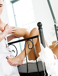 Angela Allison's perfect feet are sexy as hell. Just look at her with hthose delicious toes pleasuring her hung boyfriend Charlie. Things don't stop there though, her mouth and pussy join the party for an unforgettable sex session.