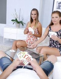 A horny guy watches how two hot babes play with cards. Blondes smile and show their wet panties while guessing the cards. Finally, one of them lost and had to get her ass spanked. After spanking the babe turns into a fury and hurries to suck the huge dick. Another blonde prefers fingering while her girlfriend does blowjob. Hardcore threesome continues until the wet babe rides the fat cock and comes with screams.