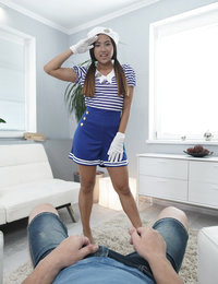 A hot maid wants to please her boyfriend and wears the sexy uniform. The hottie starts to seduce him by giving a head with a deep-throat blowjob. The busty beauty spreads her legs to enjoy the hard cock in her pussy with the Brazilian cut. Her smooth skin and flat stomach are covered with sperm. The cute maid loves to be fucked like a bitch.