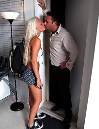 Cute tall blonde teenager Macy Cartel is geting upskirt fucked hardcore at teachers house