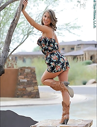 "She's a tan and spunky half Italian with a body she says is from having ""lucky genes"". She may not be willing to show herself off much in public but this just builds the anticipation when we get to see her bare all behind closed doors! We start the day off in the desert with Presley wearing a little romper and cowboy boots. She twirls around and climbs up in trees as cars drive by wondering if this is just an ordinary photo shoot. Back at a more private location, she undresses her gorgeous body and proceeds to masturbate just as she would at home. On our next location, we convince her to go bra-less and we see her nipples poking through her shirt. She plays with her breasts near a busy street and we get a glimpse of her playful side as she strips leaves from trees and tosses them into the air. Indoors we get an even better view of her natural masturbation. She warms up with a glass toy she brought from home and she's so tight that it stays in her! With her shoes off we discover how her toes crinkle up tight before and after orgasm. She ends the first half of the day with a breast, butt and foot massage. At another public location, we enjoy Presley in a sexy see through top. The sunny location reveals her smooth body and perky breasts underneath. Back at the FTV house she uses a second vibrator to penetrate herself and we see her squirm with satisfaction. We visit an apartment complex for some colorful photos in front of a small lake as Presley's nipples get hard and show through the thin cotton shirt. She mentions that she likes stronger toys so we end the day by giving her both the Vibra King and Eroscillator. We're quite pleased with the results and we are sure you will be too!"