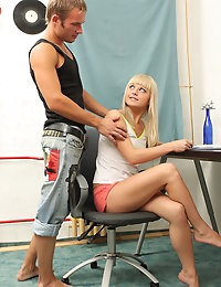 Sweet blonde teen shows her skills in blowjobbing and spreads her tiny pussy for well-sucked monster cock.