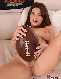 Sporty Cinthia Doll Rubs a Football Against her Shaved Pie