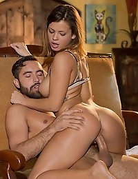 When Keisha Grey feels like getting down and dirty with her man, nothing can stand in her way. She modeled her sheerest piece of lingerie for him the minute he came home form work, and let him know she intended to run straight to bed for some hot sex. She gave him her best attention, pushing her lips to the base of his dick and salivating all over the shaft. When her turn came around, she lay back on the sofa and spread her legs wide so he could please her with his expert tongue and slide his fingers in and out of her pussy-hole. Keisha sat back on his lap, grinding her ass into his lap, as every deep thrust of his prick hit her sweet spots from behind. The feeling was so hot and good she lay down on her sides so he could hump her from behind in her favorite spooning position until he popped the big finish on her stomach and chest.