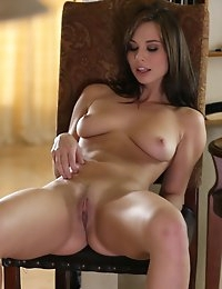 Buxom brunette Aidra Fox plays with her full tits and hard nipples then seduces her wet pussy with a magic wand vibrator
