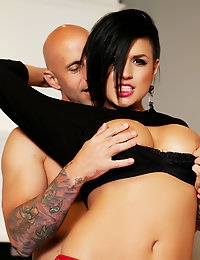 Eva Angelina is hungry for a big hard cock and Barry Scott gives it to her until he explodes.