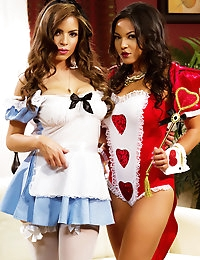 Adrianna Luna and Yurizan Beltran like a little role playing with their hot girl on girl action as they decide who is the real queen of hearts.