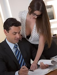 Day after day, Ryan and Brooklyn send each other flirtatious glances across the office. They make jokes to cut the sexual tension, but they both know that it's only a matter of time before one of them gives in to temptation. One day, Brooklyn can't take it anymore and hikes up her skirt, revealing her lacy lingerie and perky soft butt. It's all the invitation Ryan needs, and he feasts on her gorgeous big tits and dripping wet pussy. Brooklyn sucks his throbbing hard cock, sucking and stroking until she's ready to take him deep in her perfect pink pussy. She cums again and again as waves of erotic extacy overcome her, and then Ryan unloads his seed all over her big round tits.