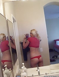 Cute blonde girlfriend takes selfshot pictures of her perky tits and tight little ass