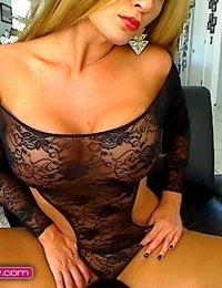 Layla Lynn teasing in a black lace teddy