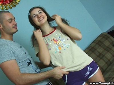 This guy is so horny, so passionate and so thoughtful at the same time. He gives his beautiful teen girlfriend a small soft pillow to put under her knees when he fucks her in the ass right on the floor. She feels great with his stiff cock deep in her tight chocolate hole and taking that anal-flavored cumshot in the end makes her totally happy.