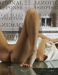 Watch as brunette babe Gina Devine grows so horny that she must finger her horny pussy right on the kitchen table