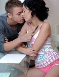 Sweet petite babe Sheri Vi is distracted from her study session for a blowjob and a hot fuck in her creamy bald pussy