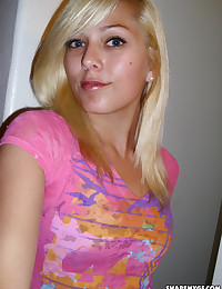Cute blonde girlfriend teases with her perky tits taking selfshot pictures