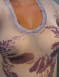 Chubby girlfriend takes selfshot pictures of her big tits in the mirror