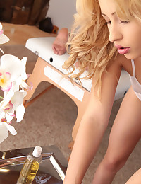 Blonde babe Violet dresses in a sheer leotard and gives her man a massage before mounting him for a raunchy fuck fest