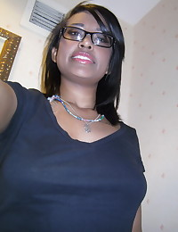 Cute black girlfriend teases with her perky tits while taking selfshot pictures for her boyfriend