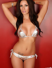 Sexy Alluring Vixen tease Jessica Lyn shows off her perfect curves in a skimpy shiny silver string bikini
