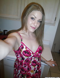 Slutty girlfriend lets her boyfriend take pictures of her with no panties on under her sun dress
