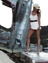 Natasha Adams photo shoot on a crashed plane