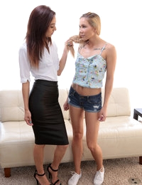 Mila Jade does her first casting interview with horny Hollie Mack who cant wait to fuck and suck her way onto Nubiles