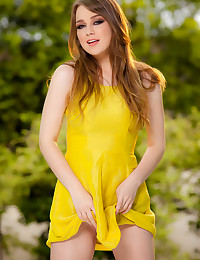 Gorgeous Alaina Fox touches her smooth inner thighs