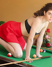 Stunning Dakota shows off her sexy body on top of the pool table