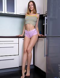 Nubiles.net Alexa Rush - Horny girl next door gets frisky in the kitchen teasing her twat