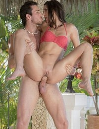 When Alexa Thomas popped out the outdoor shower to rinse off, she had no idea the hunky guy she'd been making eyes at all week would be there. Since Joel was the only guy at the resort who interested her at all, Alexa pounced on the chance to get a hot fuck. Lucky for her, he took the bait, and joined her by the shower with his cock already stiffening. Alexa took him in hand, and showed him how well she sucks cock, making every inch of him disappear down his throat. Alexa rode Joel's rod without a care in the world about getting spotted fucking poolside, then took his dick balls deep in her tight Spanish ass!