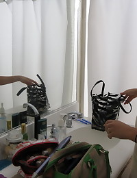 Sexy naked girlfriend lets her boyfriend take pictures of her while getting ready to go out