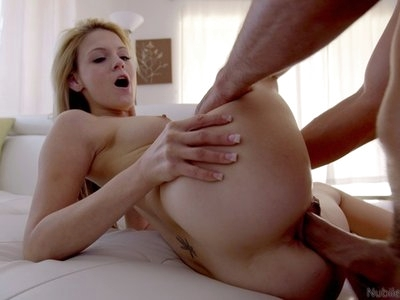 A slow seductive striptease leaves Hope Harper naked and ready for the bald pussy stiffie ride she wants to give her man