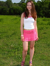 Her clothes slip off one by one and her beauty starts to shine ever brighter as she aims to show off her teen pussy.