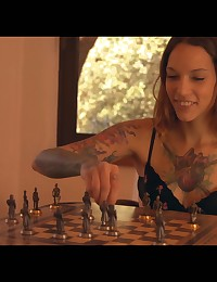 Tall willowy coed Silvia Nubi loses a game of strip chess and spreads her thighs to give the victor a hardcore pussy party