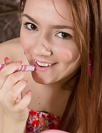 This fine doll paints a few things on her finely shaped body as she has incredible fun showing her pink teen pussy.