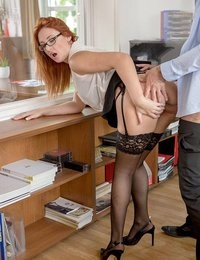 Under pressure to finish his report, stressed executive Kai Taylor was growing tired, grumpy, and hungry. Bellowing for his sexy Russian secretary Eva Berger, he barked his lunch order and sent her out. Unlike Mr. Taylor, Eva finds stress to be a powerful aphrodisiac and couldn't help but touch herself while staring longingly at her boss. By the time Kai's order arrived, food wasn't the only thing Eva was serving up, as she rubbed his shoulders seductively, moving down to massage his chest, his arms, and his growing bulge. Unleashing his massive cock, Eva dropped to her knees to devour it. All of her office fantasies came true as Kai threw Eva on top of his desk, ravaging her tight pussy and making her thick ass and tits shake. She then rode his fat dick hard to multiple mind-blowing orgasms, working his cum out like a pro. One thing is for sure: Eva definitely deserved her raise.