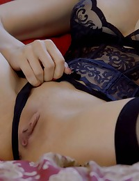 Big boob European Stella Cox puts on sexy lingerie and masturbates before getting her cock hungry bald pussy pounded