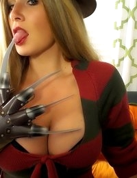 Layla Lynn goes as sexy Freddy Krueger for Halloween